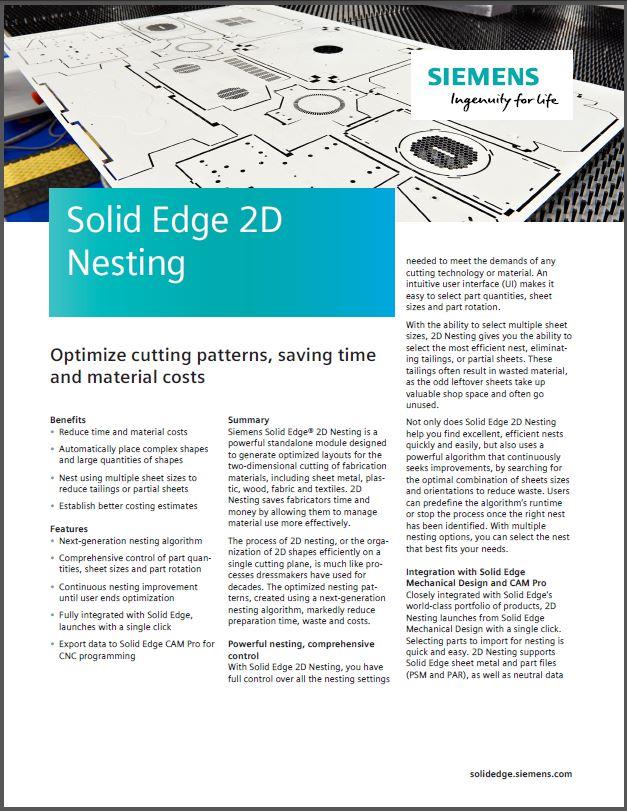 Solid Edge 2020 2D Nesting