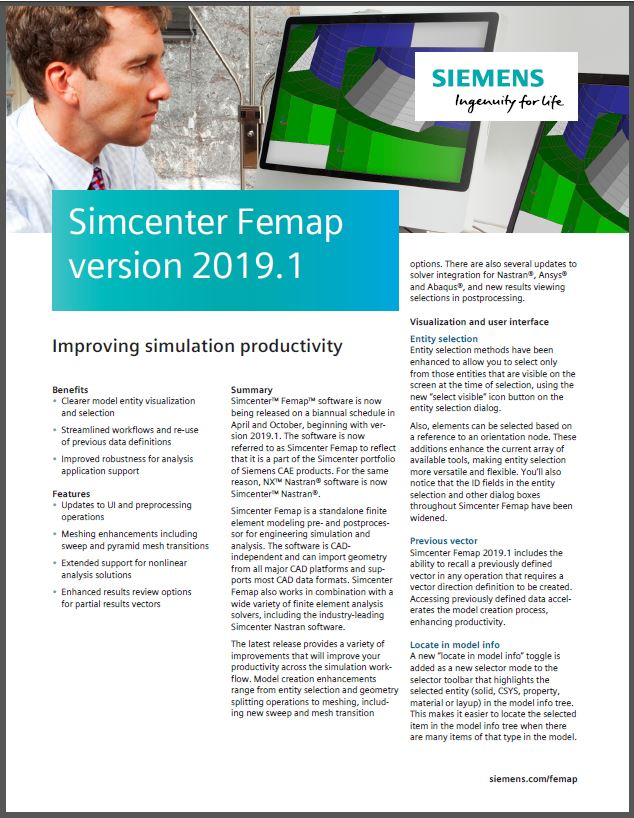 BROCHURE | Simcenter Femap 2019.1